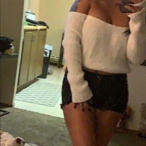 Crop off shoulder sweater